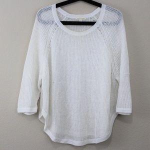 Eileen Fisher Open Knit Jewel Neck Linen Top M140